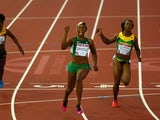 Blessing Okagbare celebrates winning gold in the women's 100m ahead od Jamiaca's Veronica Campbell-Brown on July 28, 2014