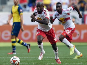 Red Bulls Bradley Wright-Phillips controls the ball against Arsenal during the friendly match between Arsenal and the New York Red Bulls July 26, 2014