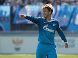 Cristian Ansaldi of FC Zenit St. Petersburg gestures during the Russian Football League Championship match between FC Zenit St. Petersburg and FC Volga Nizhny Novgorod at the Petrovsky stadium on April 26, 2014