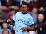 Jason Denayer of Manchester City in action during the Pre Season Friendly match between Hearts and Manchester City at Tyncastle Stadium on July 18, 2014
