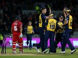 Boyd Franklin of Birmingham Bears celebrates the wicket of Ashwell Prince Lancashire Lightning during the Natwest T20 Blast Final match between Birmingham Bears and Lancashire Lightning at Edgbaston on August 23, 2014
