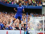 Diego Costa of Chelsea celebrates as he scores their first goal during the Barclays Premier League match between Chelsea and Leicester City at Stamford Bridge on August 23, 2014