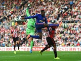 Danny Welbeck of Manchester United attempts to control the ball during the Barclays Premier League match between Sunderland and Manchester United at Stadium of Light on August 24, 2014