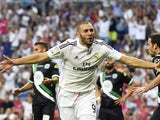 Karim Benzema celebrates scoring the opener for Real Madrid against Cordoba on August 25, 2014