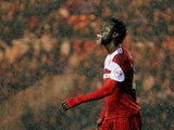 Kei Kamara of Middlesbruogh laughs after his miss during the Sky Bet Championship game between Middlesbrough and Doncaster Rovers at the Riverside Stadium on October 25, 2013