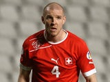 Switzerland's defender Philippe Senderos reacts during the 2014 World Cup European zone group E qualifying football match between Cyprus and Switzerland at GSP Stadium in Nicosia on March 23, 2013