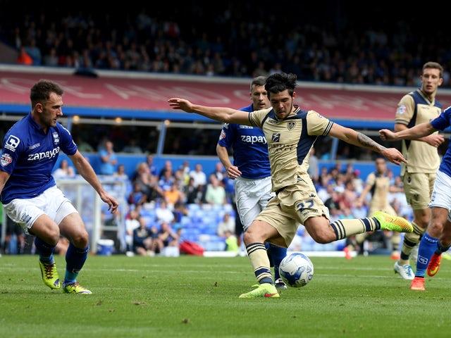 Alex Mowatt of Leeds scores during the Sky Bet Championship match between Birmingham City and Leeds United at St Andrews (stadium) on September 13, 2014