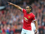 Radamel Falcao of Manchester United gestures during the Barclays Premier League match between Manchester United and Queens Park Rangers at Old Trafford on September 14, 2014