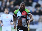Ugo Monye of Harlequins makes a break during the Aviva Premiership match between Harlequins and Newcastle Falcons at Twickenham Stoop on February 15, 2014