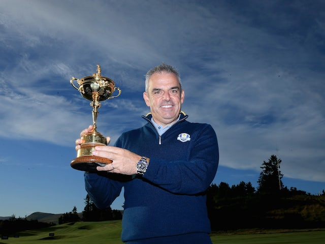 Team Europe captain Paul McGinley poses with the Ryder Cup ahead of the contest against the USA at Gleneagles on September 23, 2014