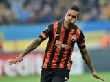 FC Shakhtar's Donetsk Alex Teixeira celebrates after scoring during the UEFA Champions League football match between FC Shakhtar Donetsk and FC BATE Borisov in Lviv on November 5, 2014
