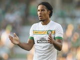 Virgil Van Dijk of Celtic Glasgow reacts during the Pre Season Friendly between SK Rapid Wien and Celtic Glasgow at Gerhard-Hanappi-Stadium on July 6, 2014