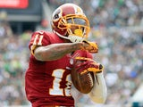 DeSean Jackson #11 of the Washington Redskins reacts after catching a first-down pass in the first quarter against the Philadelphia Eagles on September 21, 2014