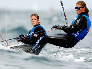Hannah Mills and Saskia Clark of Great Britain sail on the Copacobana course during the Women's 470 Class as part of the Aquece Rio International Sailing Regatta on August 5, 2014