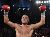Sergey Kovalev celebrates his unanimous decision win against Bernard Hopkins after their IBF, WBA, & WBO Light Heavyweight title fight on November 8, 2014