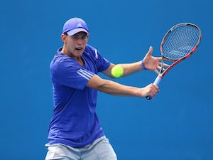 Dominic Thiem in action on day two of the Australian Open on January 20, 2015