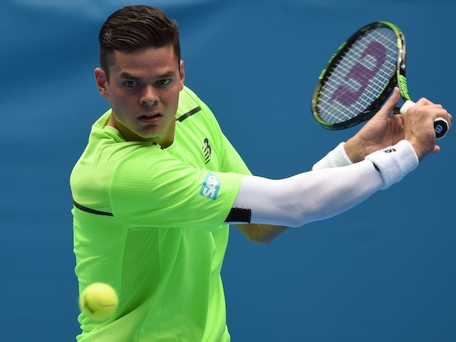 Milos Raonic in action on day two of the Australian Open on January 20, 2015