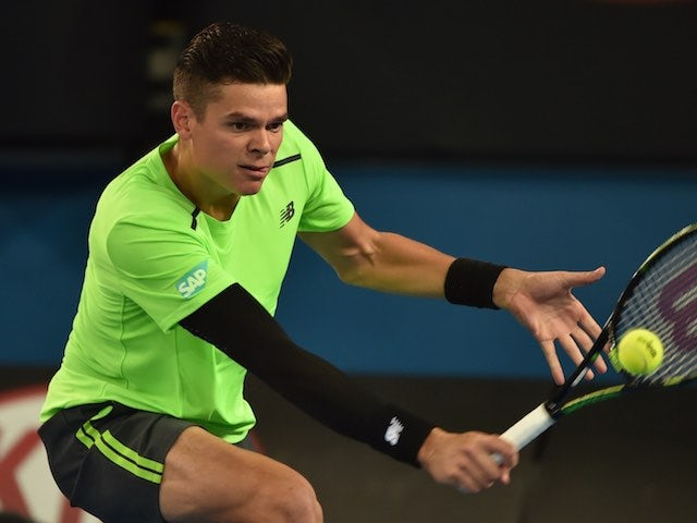 Milos Raonic in action on day four of the Australian Open on January 22, 2015