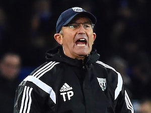 West Bromwich Albion's Welsh manager Tony Pulis shouts from the touchline during the English Premier League football match against Everton on January 19, 2015