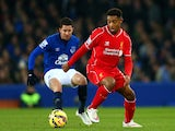 Jordon Ibe of Liverpool controls the ball during the Barclays Premier League match between Everton and Liverpool at Goodison Park on February 7, 2015