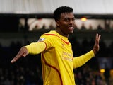 Liverpool's English striker Daniel Sturridge celebrates scoring an equalising goal during the English FA Cup fifth round football match between Crystal Palace and Liverpool at Selhurst Park in south London on February 14, 2015