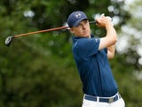 Jordan Spieth of the United States hits his tee shot on the second hole during the final round of the 2015 Masters Tournament at Augusta National Golf Club on April 12, 2015