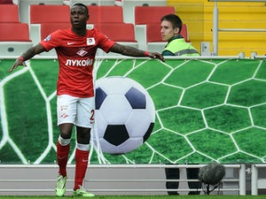 Quincy Promes of FC Spartak Moscow celebrates after scoring a goal during the Russian Premier League match between FC Spartak Moscow and FC Rubin Kazan at the Arena Otkritie Stadium on April 26, 2015