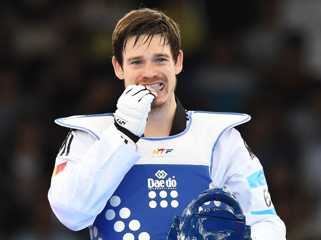 Aaron Cook of Moldova reacts after losing in the quarter-finals of the men's -80kg event at the European Games in Baku