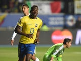 Ecuador's forward Enner Valencia celebrates after scoring against Mexico during their 2015 Copa America football championship match, in Rancagua, Chile, on June 19, 2015