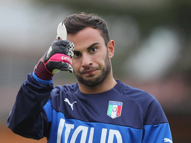 Francesco Bardi of Italy U21 reacts during a training session at the Giulio Onesti Sports Center on March 23, 2015