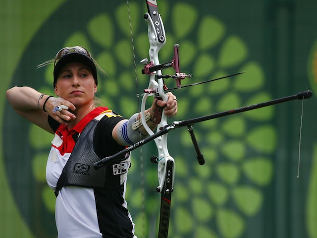 Karina Winter of Germany competes in the Women's Archery Individual during day nine of the Baku 2015 European Games at the Tofiq Bahramov Stadium on June 21, 2015