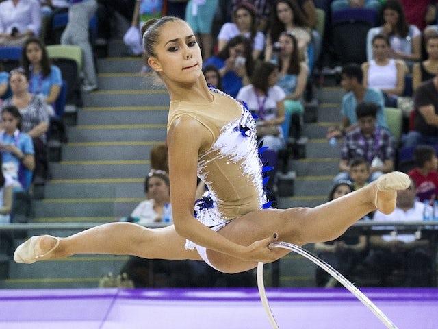 Russia's Margarita Mamun competes in the women's rhythmic gymnastics individual apparatus final at the 2015 European Games in Baku on June 21, 2015