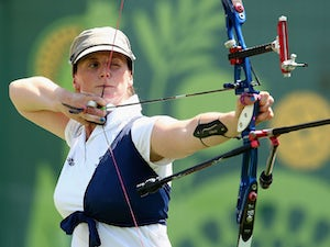 Naomi Folkard of Great Britain competes against Nicky Hunt of Great Britain in the Archery Women's Individual 1/32 Elimination during day seven of the Baku 2015 European Games at the Tofiq Bahramov Stadium on June 19, 2015