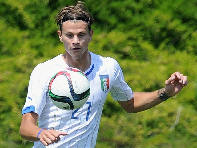 Samuele Longo of Italy U21 in action during the friendly match training with FC Internazionale Berretti at Appiano Gentile on June 7, 2015