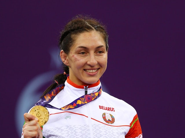 Gold medalist Vasilisa Marzaliuk of Belarus poses with the medal won in the Women's Wrestling 75kg Freestyle final during day four of the Baku 2015 European Games at Heydar Aliyev Arena on June 16, 2015