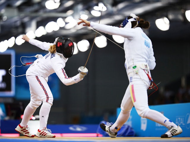 Corinna Lawrence of Great Britain (L) and Amalia Tataran of Romania compete in the Women's Fencing Individual Epee Round of 32 match during day eleven of the Baku 2015 European Games at the Crystal Hall on June 23, 2015