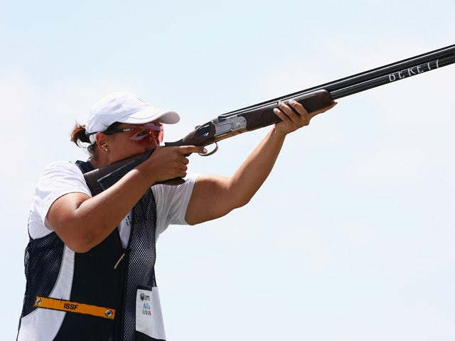 Diana Bacosi of Italy competes in the Mixed Team Skeet Final during day ten of the Baku 2015 European Games at the Baku Shooting Centre on June 22, 2015