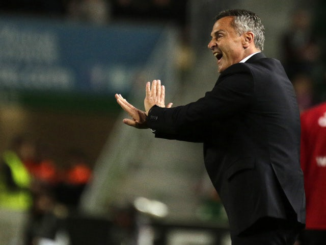 Elche's coach Fran Escriba gestures from the sidelines during the Spanish league football match Elche FC vs Valencia CF at the Martinez Valero stadium in Elche on March 20, 2015