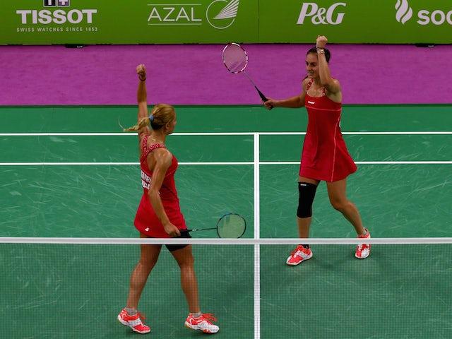 Gabriela Stoeva (L) and Stefani Stoeva of Bulgaria celebrate winning gold in the Women's Badminton Doubles Final against Ekaterina Bolotova and Evgeniya Kosetskaya of Russia during day fifteen of the Baku 2015 European Games at at Baku Sports Hall on Jun