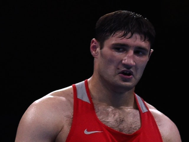 Gasan Gimbatov of Russia in the Men's Boxing Super Heavyweight (+91kg) Final during day fourteen of the Baku 2015 European Games at Crystal Hall on June 26, 2015
