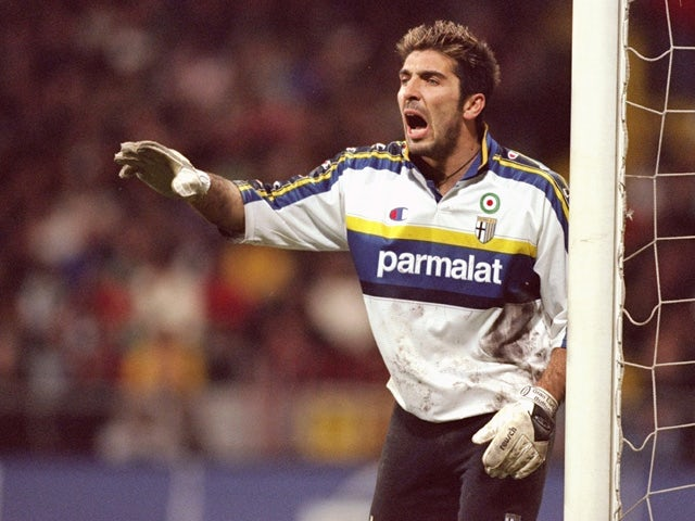 Gianluigi Buffon of Parma during the UEFA Cup fourth round second leg game between Werder Bremen and Parma at the Weserstadion in Bremen, Germany