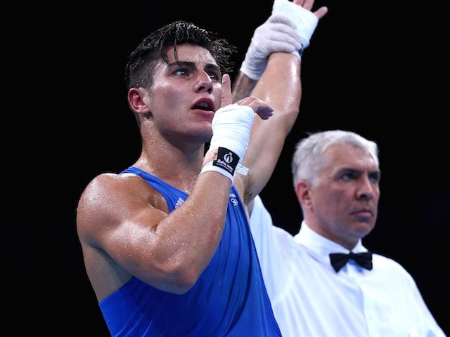 Team GB boxer Josh Kelly celebrates winning his bout at the European Games on June 23, 2015