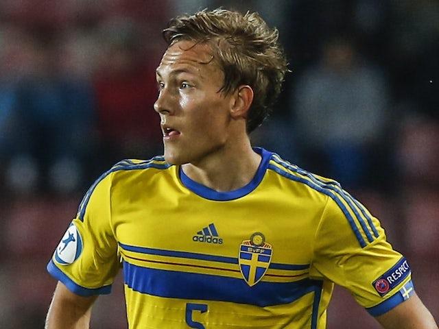 Sweden's Ludwig Augustinsson against Denmark on June 27, 2015