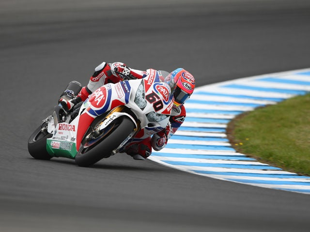 Michael van der Mark of the Netherlands rides the #60 Pata Honda World Superbike team Honda CBR1000RR SP during the practice session for the World Superbikes World Championship Australian Round at Phillip Island Grand Prix Circuit on February 20, 2015