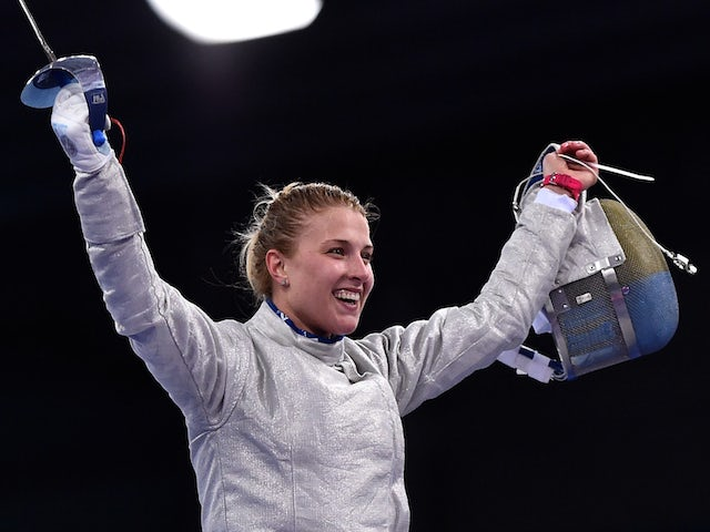 Olga Kharlan of Ukraine celebrates during in the Women's Fencing Team Sabre Final during day fifteen of the Baku 2015 European Games at the Crystal Hall on June 27, 2015