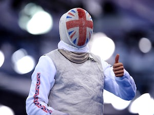 Richard Kruse of Great Britain reacts during the Men's Fencing Individual Foil Round of 32 match against Jean-Paul Tony Helissey of France on day thirteen of the Baku 2015 European Games at the Crystal Hall on June 25, 2015