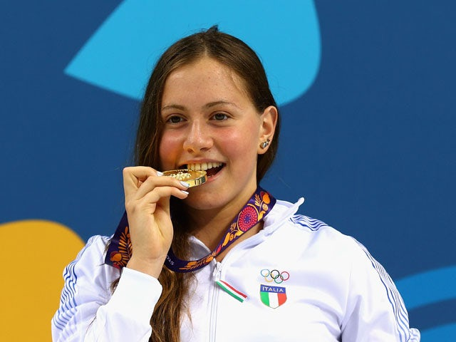 Sveva Schiazzano of Italy wins Gold in the Swimming Women's 1500m Freestyle Final during day thirteen of the Baku 2015 European Games at the Baku Aquatics Centre on June 25, 2015
