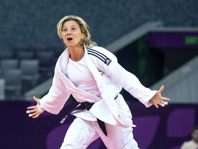 Portugal's Telma Monteiro reacts as she wins the gold medal women's -57kg judo final match against Hungary's Hedvig Karakas at the 2015 European Games in Baku on June 25, 2015