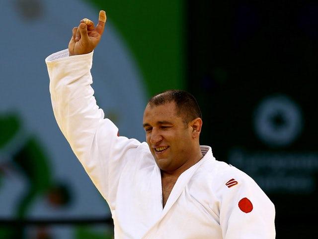 Ilham Zakiyev (white) of Azerbaijan celebrates winning the gold medal in the Men's Visually Impaired gold medal match against Pominov Oleksandr (blue) of Russia during day fourteen of the Baku 2015 European Games at the Heydar Aliyev Arena on June 26, 201