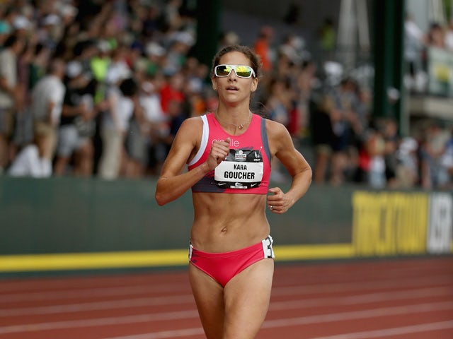 Kara Goucher runs in the Womens 5,000 Meter during day four of the 2015 USA Outdoor Track & Field Championships at Hayward Field on June 28, 2015